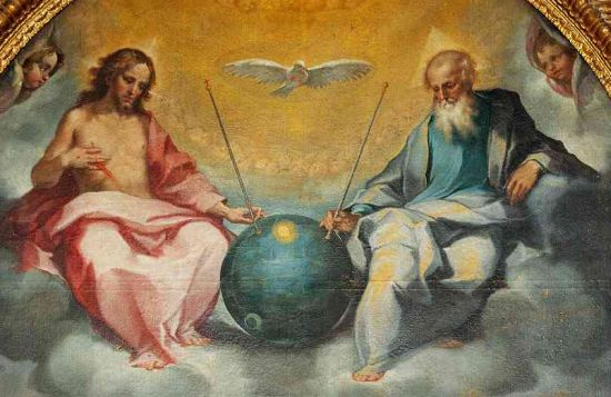 This painting is by Bonaventura Salimbeni entitled 'Glorification of the Eucharist' painted in 1600. Notice the 'Sputnik' satellite? It hangs in the church of San Lorenzo in San Pietro. (Click on This Image, To Learn More!)