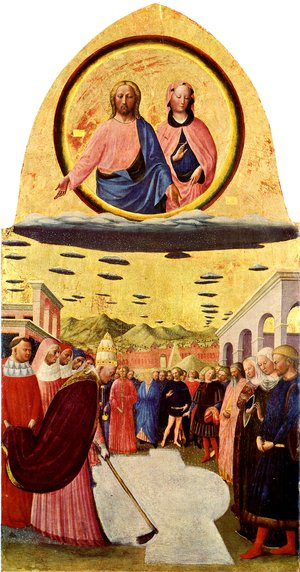 The painting is entitled 'The Miracle of the Snow' - Painted by Masolino Da Panicale (1383-1440) It now hangs, at the church of Santa Maria Maggiore, Florence, Italy. (Click on This Image, To Learn More!)
