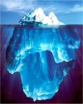 The tip of the iceberg represents the conscious mind and the part