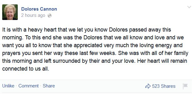 It is with a heavy heart that we let you know Dolores passed away this morning. To this end she was the Dolores that we all know and love and we want you all to know that she appreciated very much the loving energy and prayers you sent her way these last few weeks. She was with all of her family this morning and left surrounded by their and your love. Her heart will remain connected to us all.