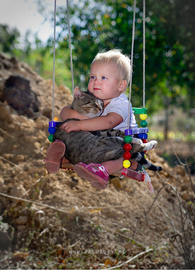 And this photograph of two best friends on a swing.